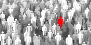 One person in a crowd