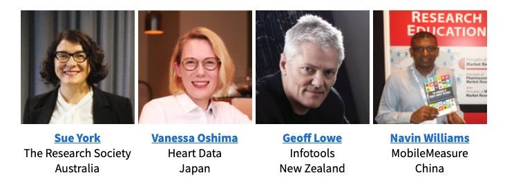 Speakers for APAC, Sue York, Vanessa Oshima, Geoff Lowe, Navin Williams